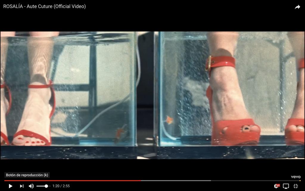 Captura de vídeo de Rosalía en el que aparecen los pies de dos mujeres con tacones sumergidos en agua, haciéndose la pedicura con peces.