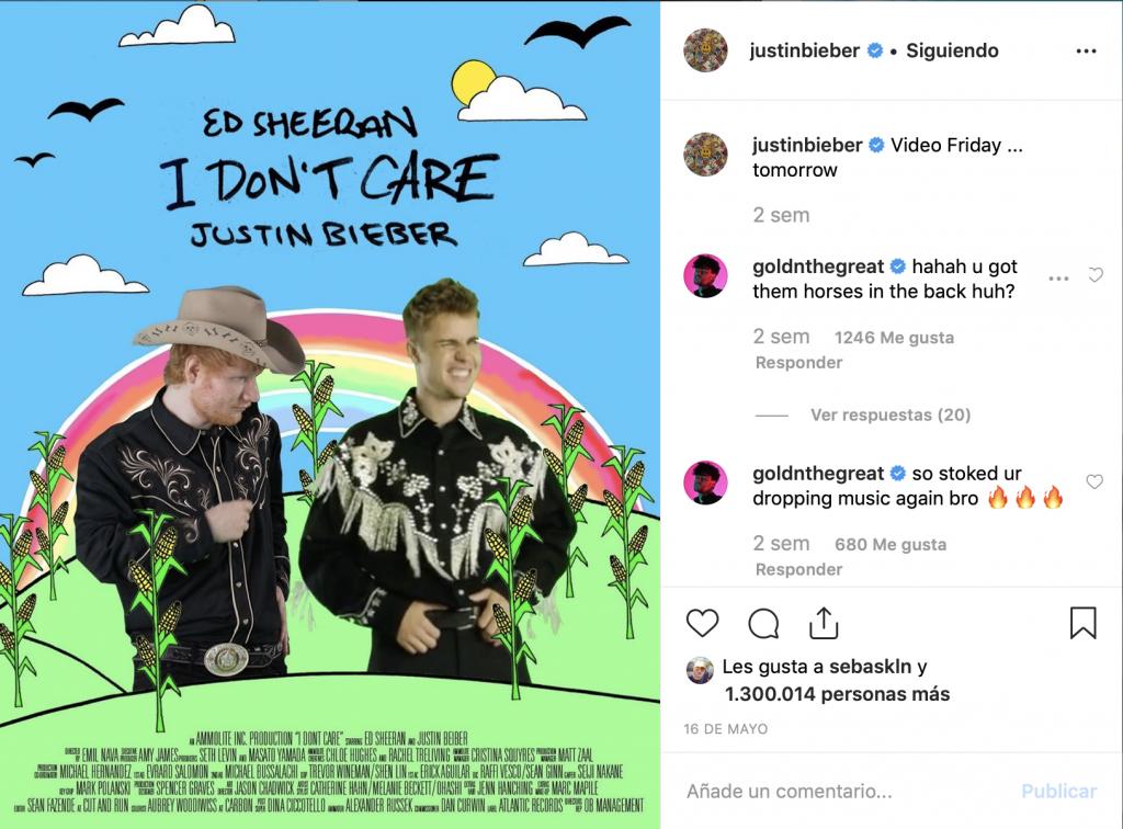 Captura del instagram de Justin Bieber en el que aparece la portada del trabajo de este con la colaboración de Ed Sheeran, ambos caracterizados de cowboy.