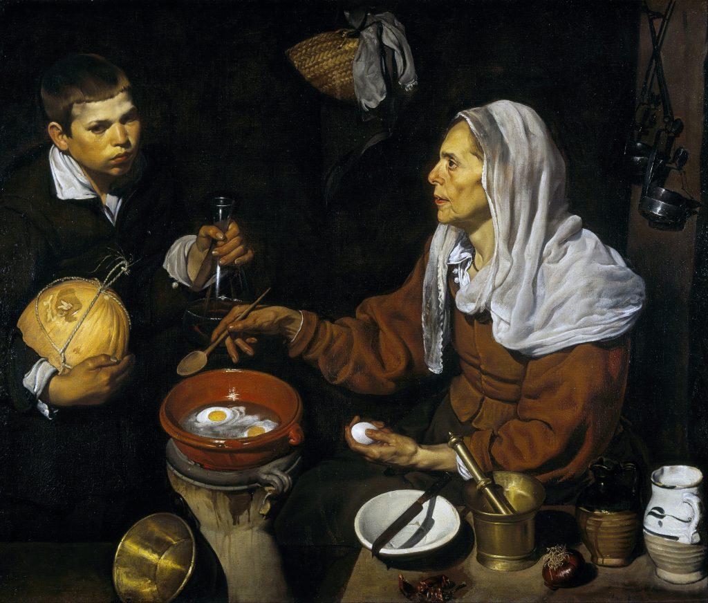 "Imagen del cuadro de Velazquez ""Vieja friendo huevos""."
