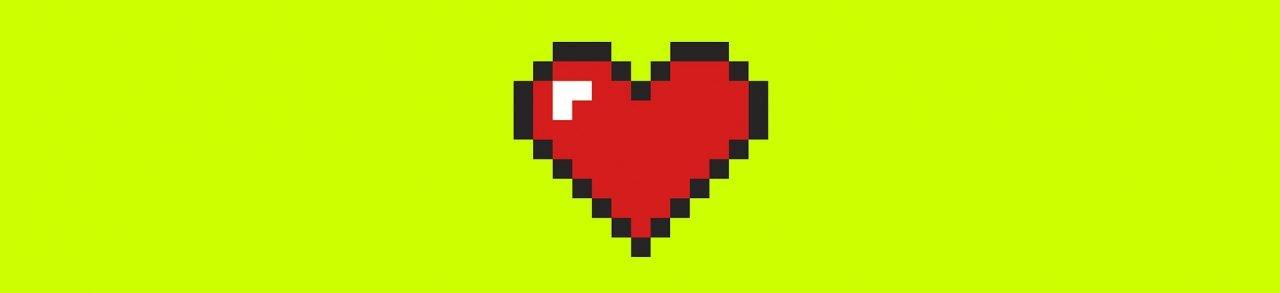 Corazón realizado con la técnica pixel art