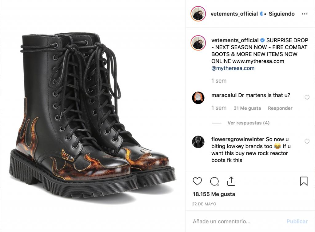 Captura del instagram de Vetements en el que aparecen unas botas de piel con motivos de llamas.