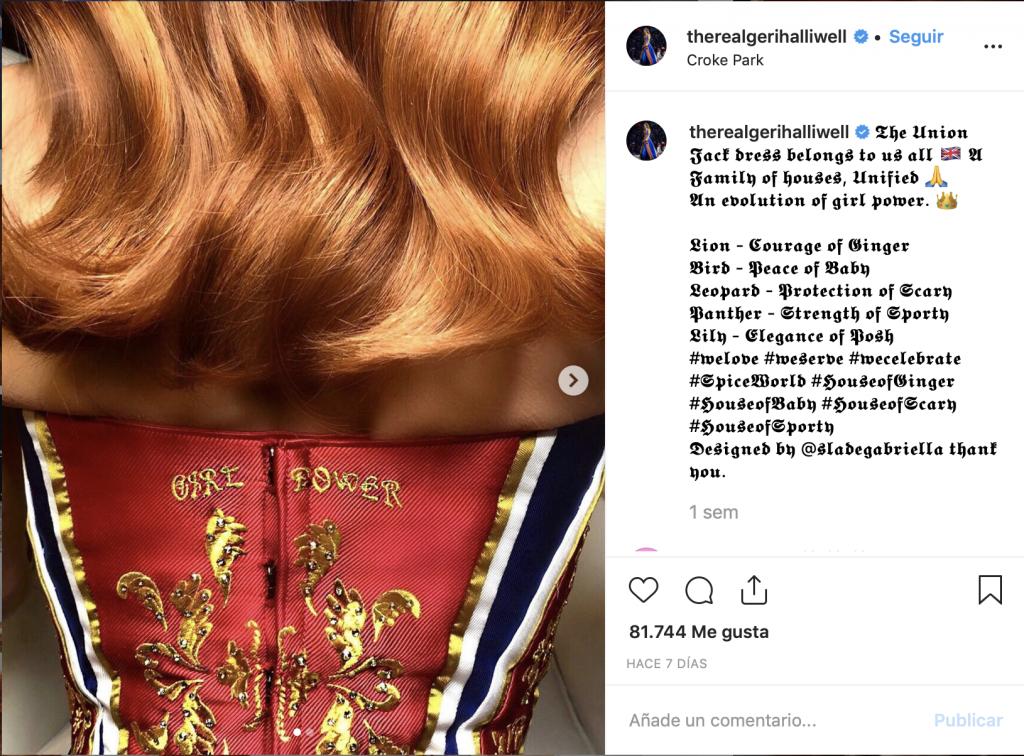 Captura del Instagram de la Spice Girl Geri Halliwell en el que se ve la espalda de un corset con el texto Girl Power.